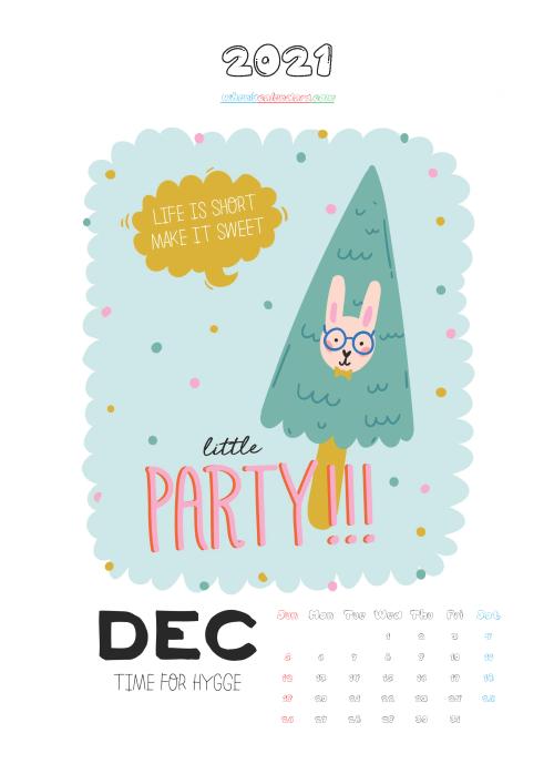 Free December 2021 Cute Calendar