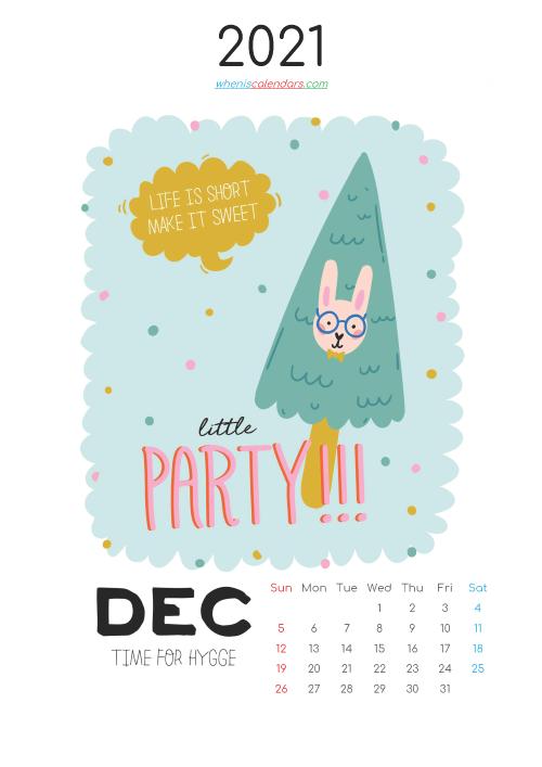 December 2021 Calendar for Kids Printable