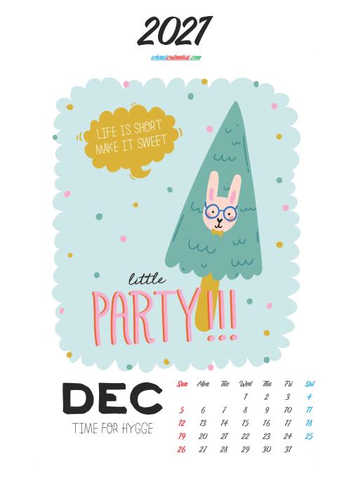 Cute Calendar Printable December 2021