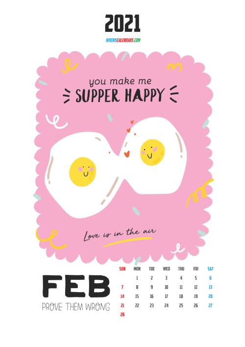 February 2021 Calendar for Kids Printable