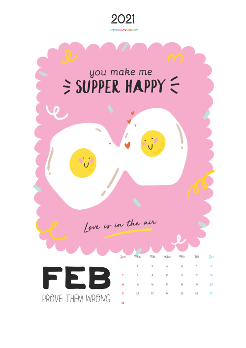 Free Calendar for Kids Printable February 2021