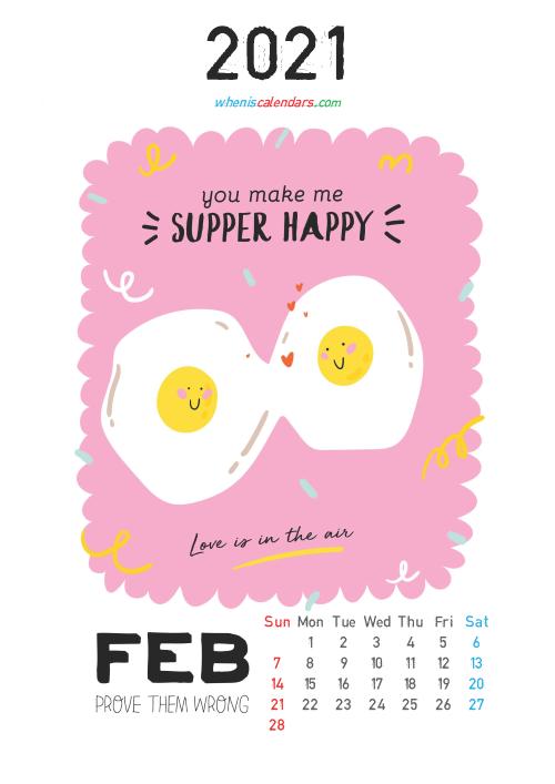 Free Cute Calendar Printable February 2021