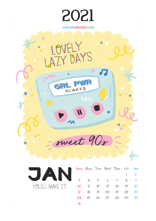 Free Calendar for Kids Printable January 2021