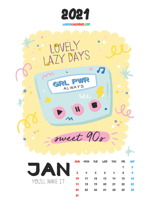 Free January 2021 Calendar for Kids Printable