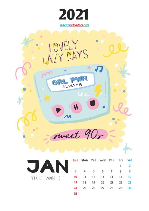 Calendar for Kids Printable January 2021