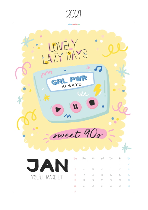 Free Cute Calendar Printable January 2021
