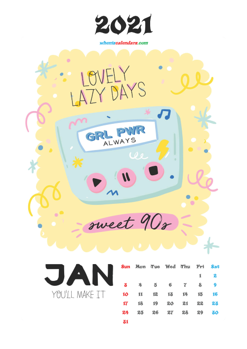 January 2021 Calendar for Kids Printable