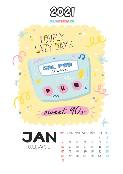 Cute Calendar Printable January 2021