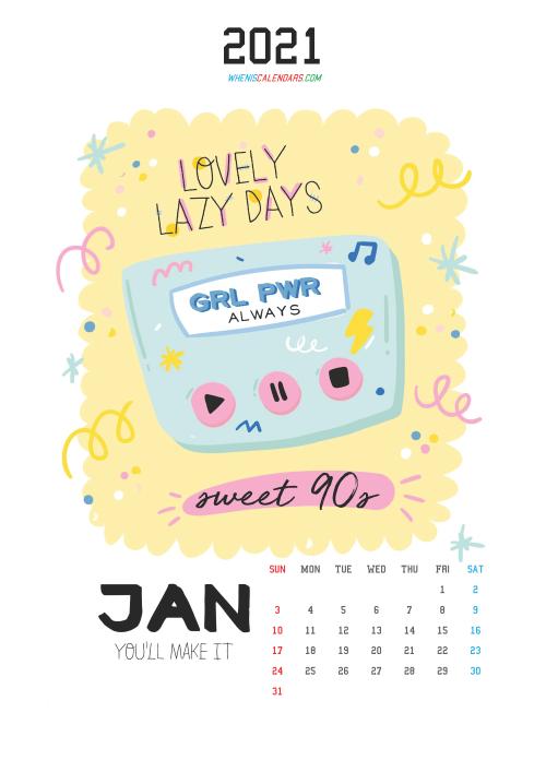Free January 2021 Cute Calendar