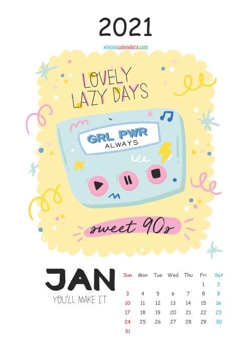 Free Calendar for Kids Printable January 2021