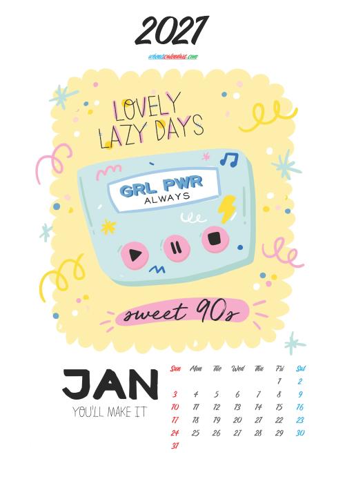 Cute Calendar Printable January 2021