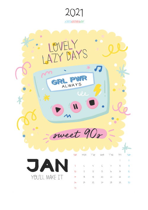 January 2021 Calendar Printable for Kids