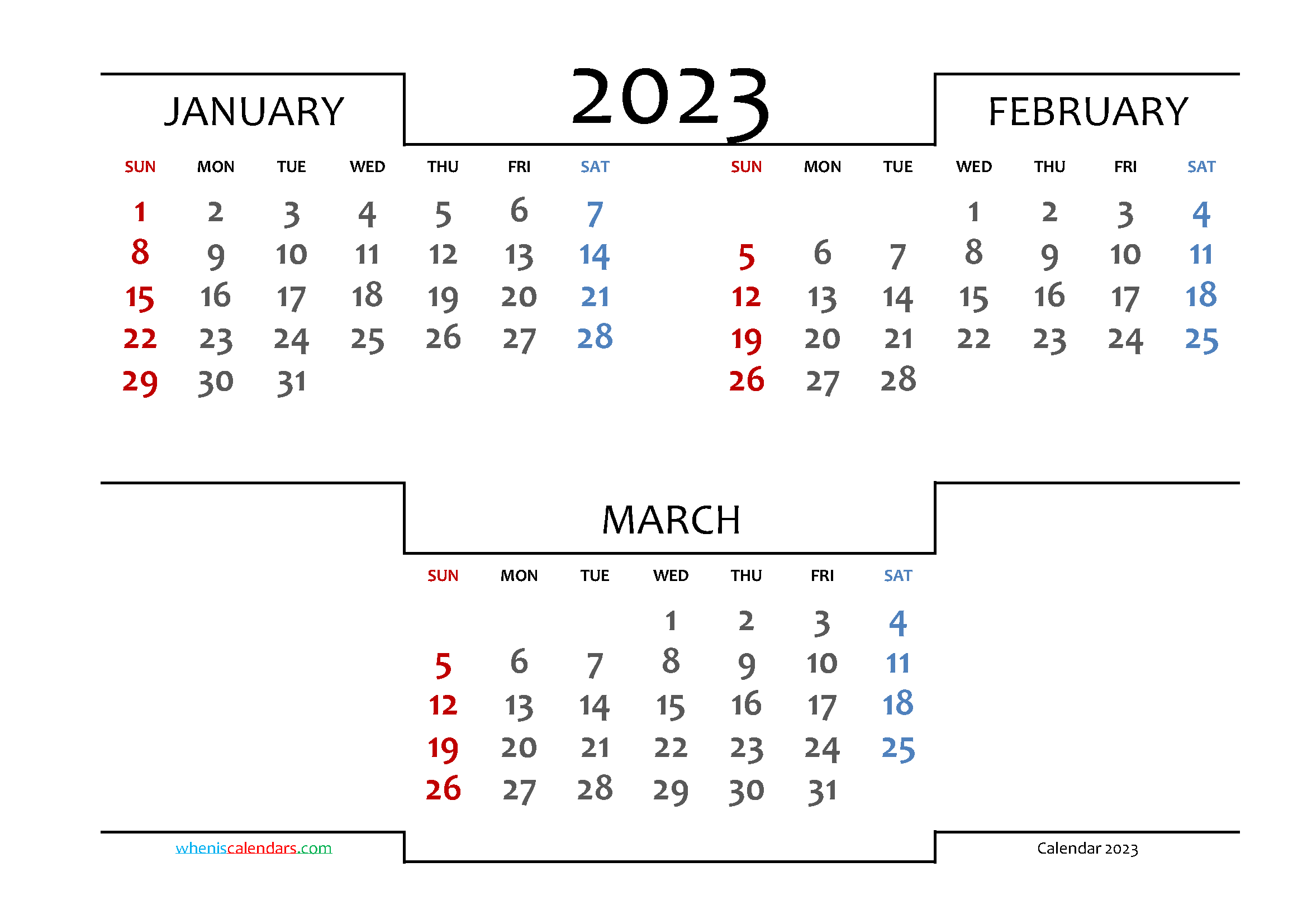 January February March 2023 Printable 3 Month Calendar