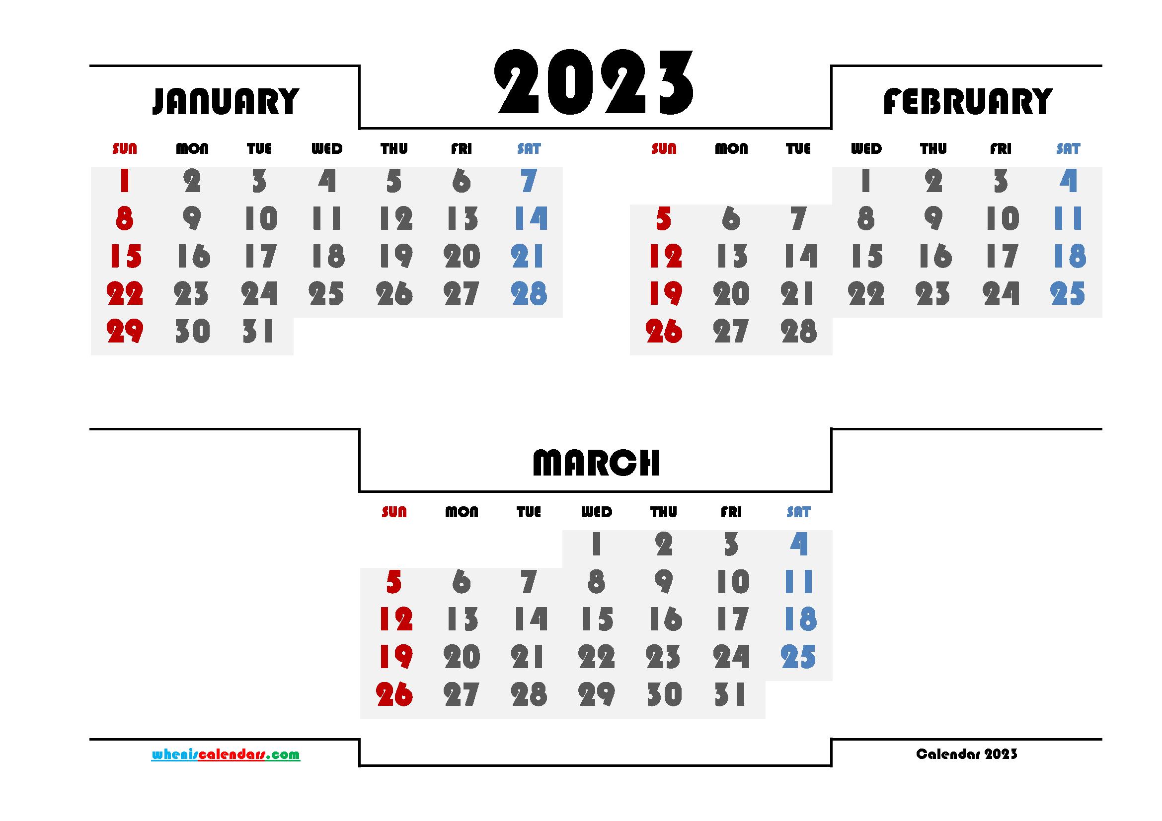 January February March 2023 Printable Calendar