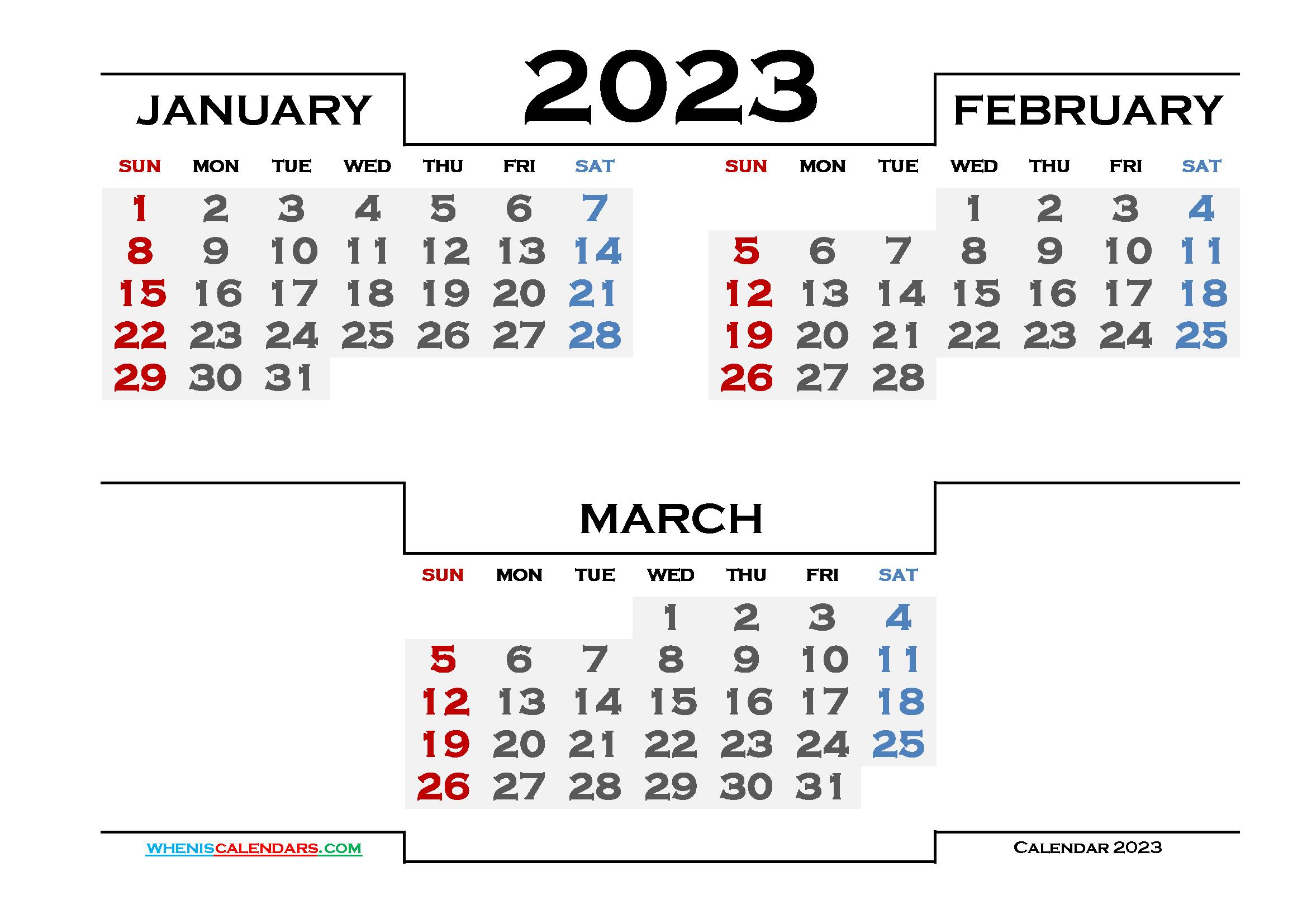 January February March 2023 Calendar Printable