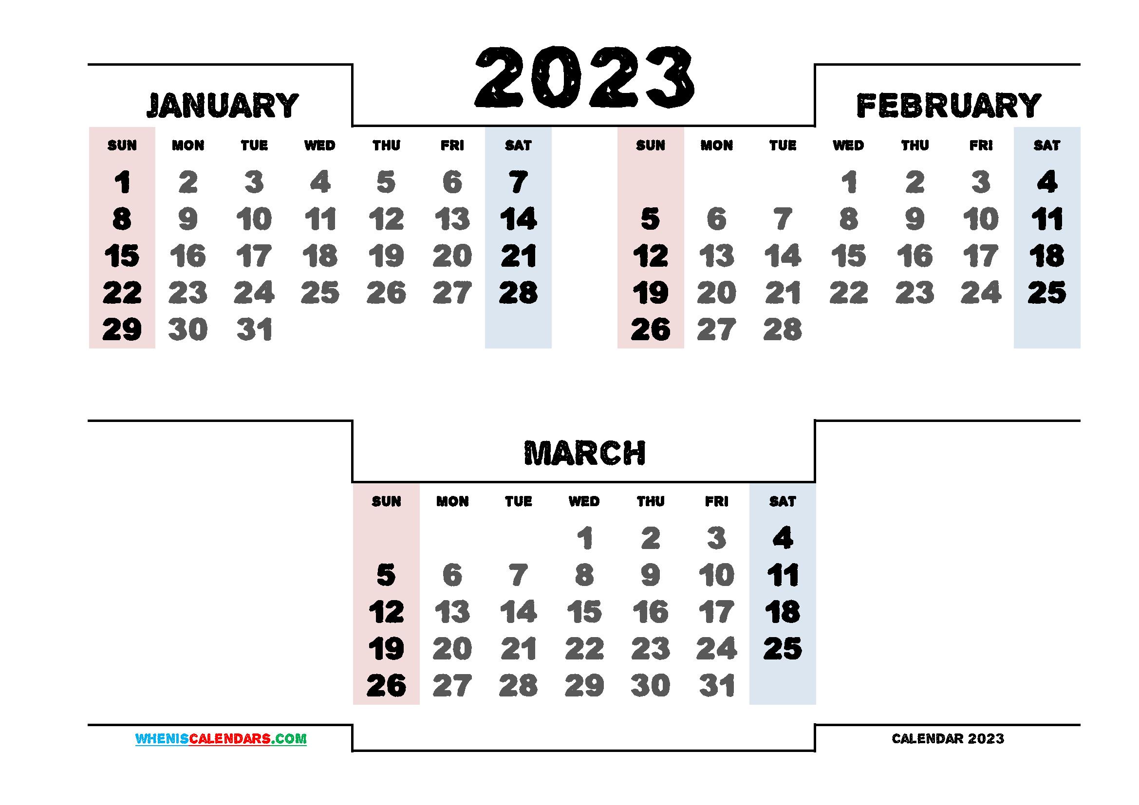Calendar January February March 2023 Printable