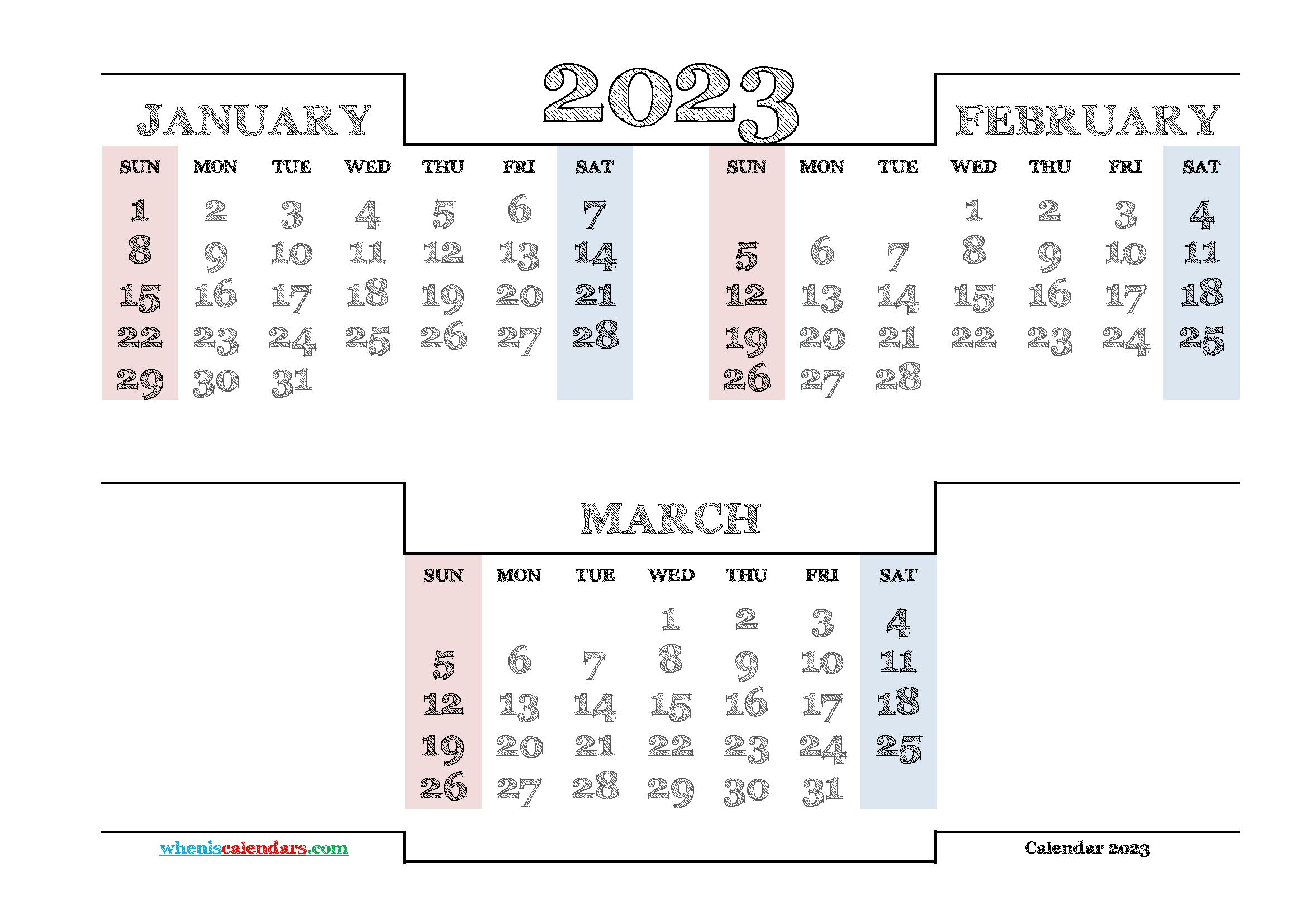 Printable January February March 2023 Calendar