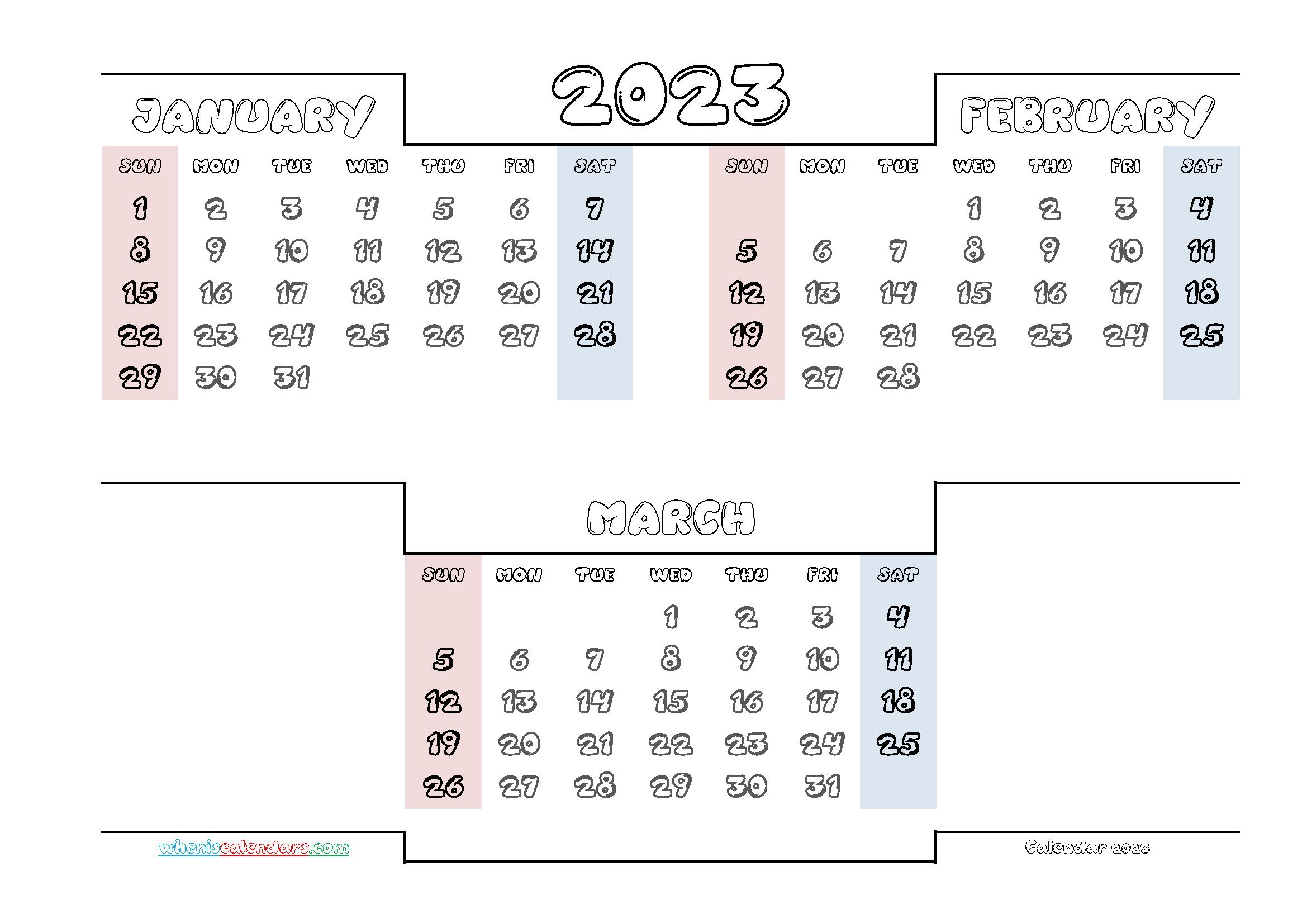 Free January February March 2023 Calendar Printable