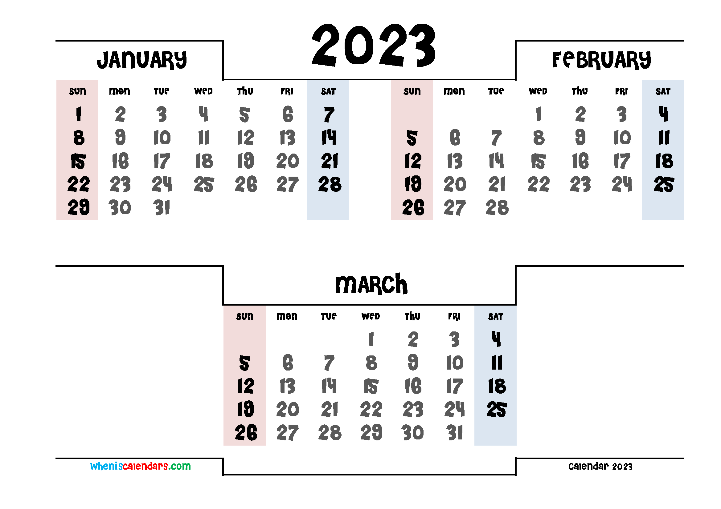 January February March 2023 Printable Calendar Free