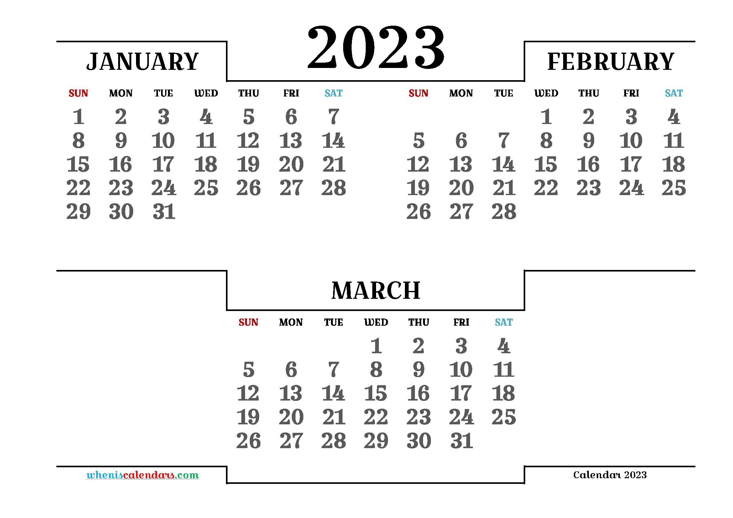 Printable January February March 2023 3 Month Calendar
