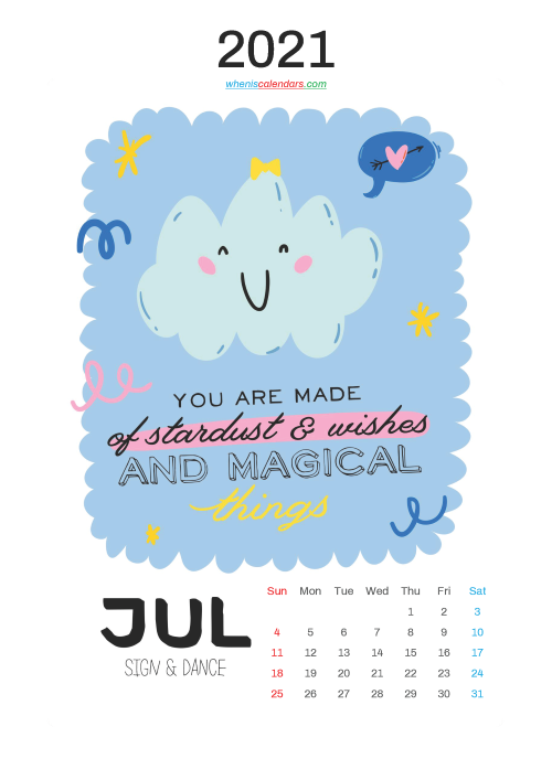 Free Cute Calendar Printable July 2021