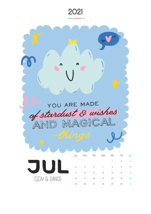 Free Calendar for Kids Printable July 2021