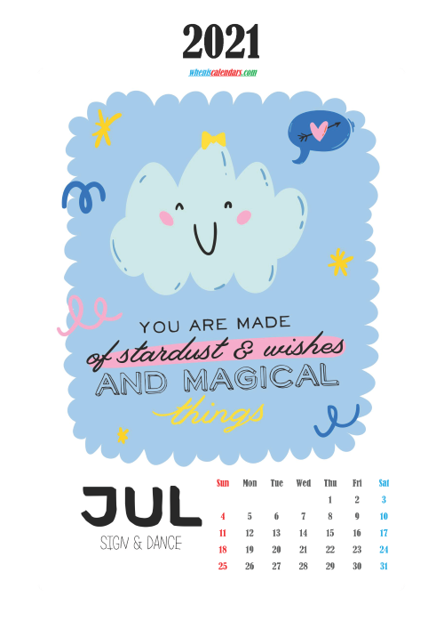 Free Cute Calendar Printable July 2021