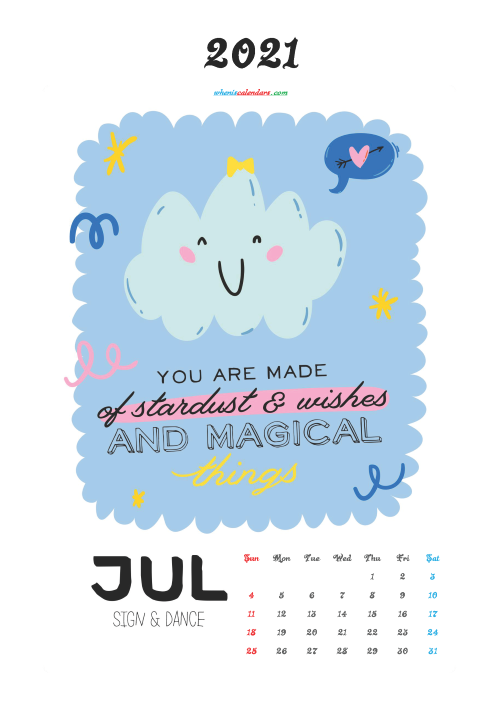 July 2021 Calendar for Kids Printable