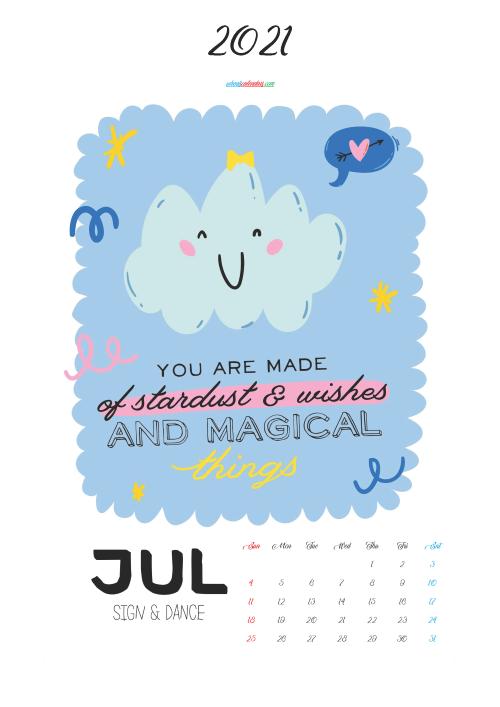 Calendar for Kids Printable July 2021