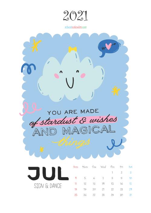 Free July 2021 Cute Calendar