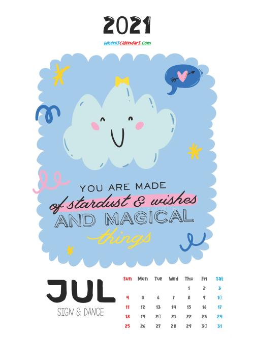 July 2021 Calendar for Kids Printable
