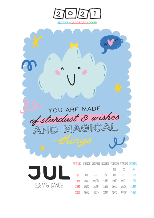 Free July 2021 Calendar for Kids Printable