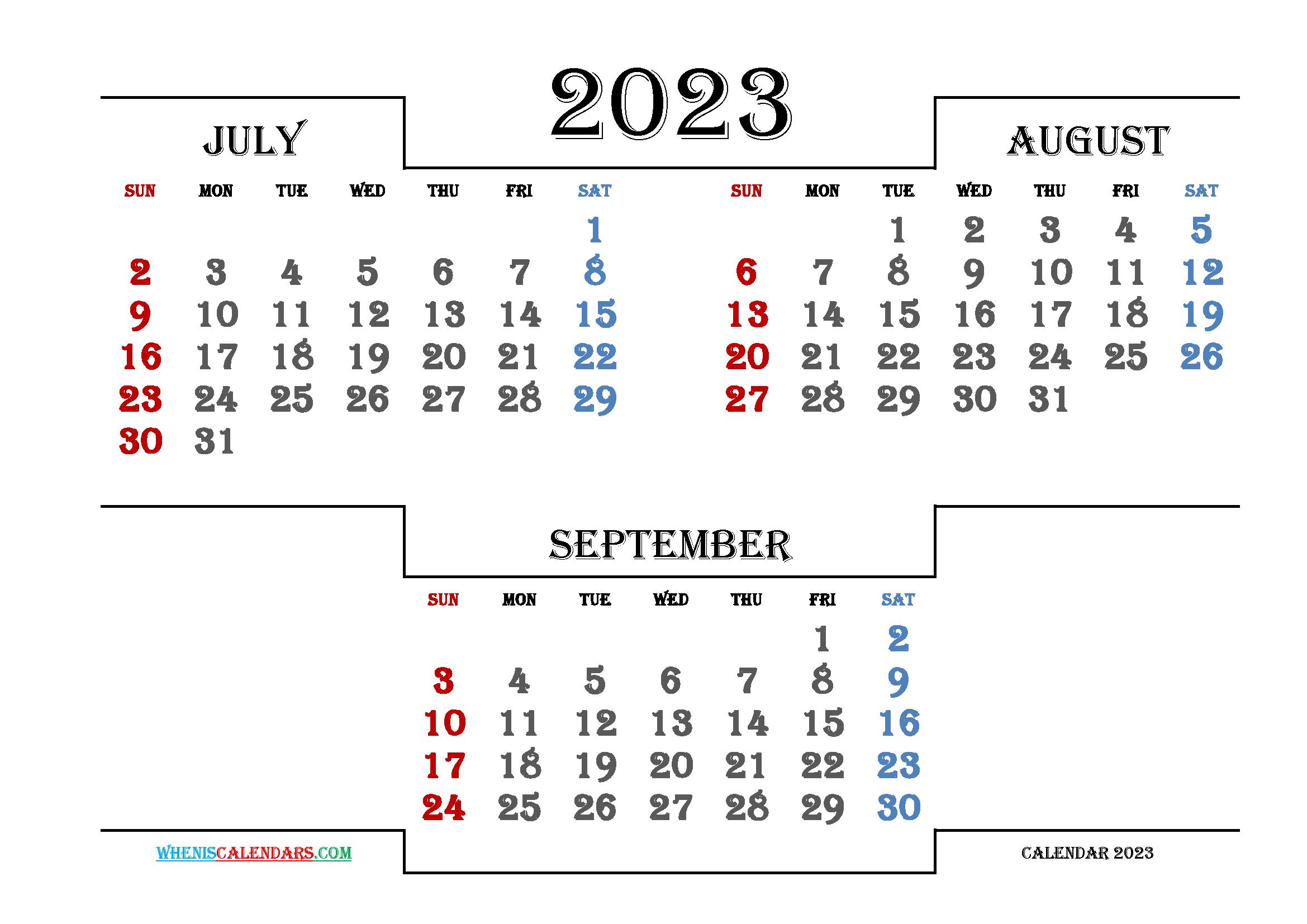 Free July August September 2023 Calendar Printable