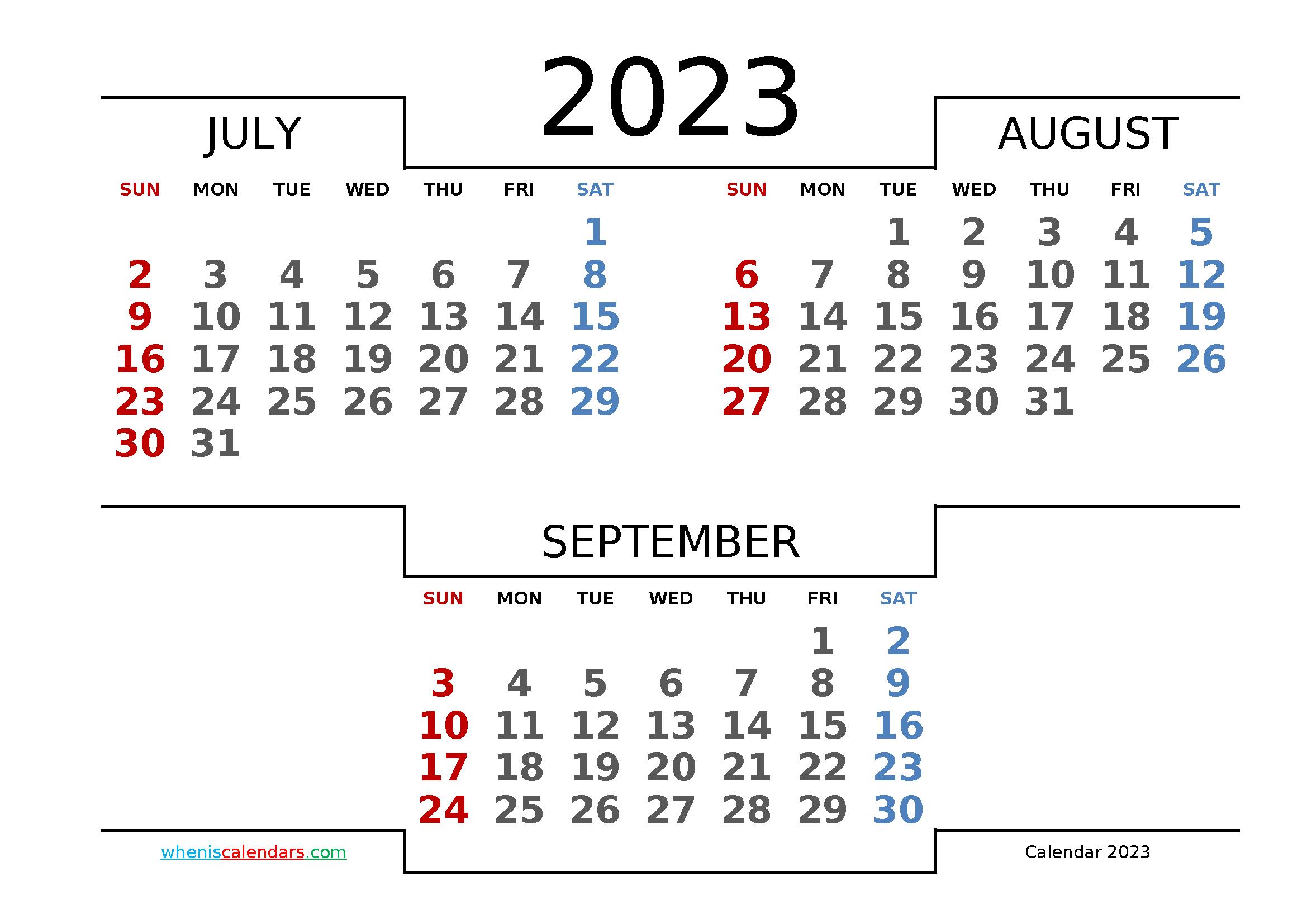 Printable July August September 2023 Calendar