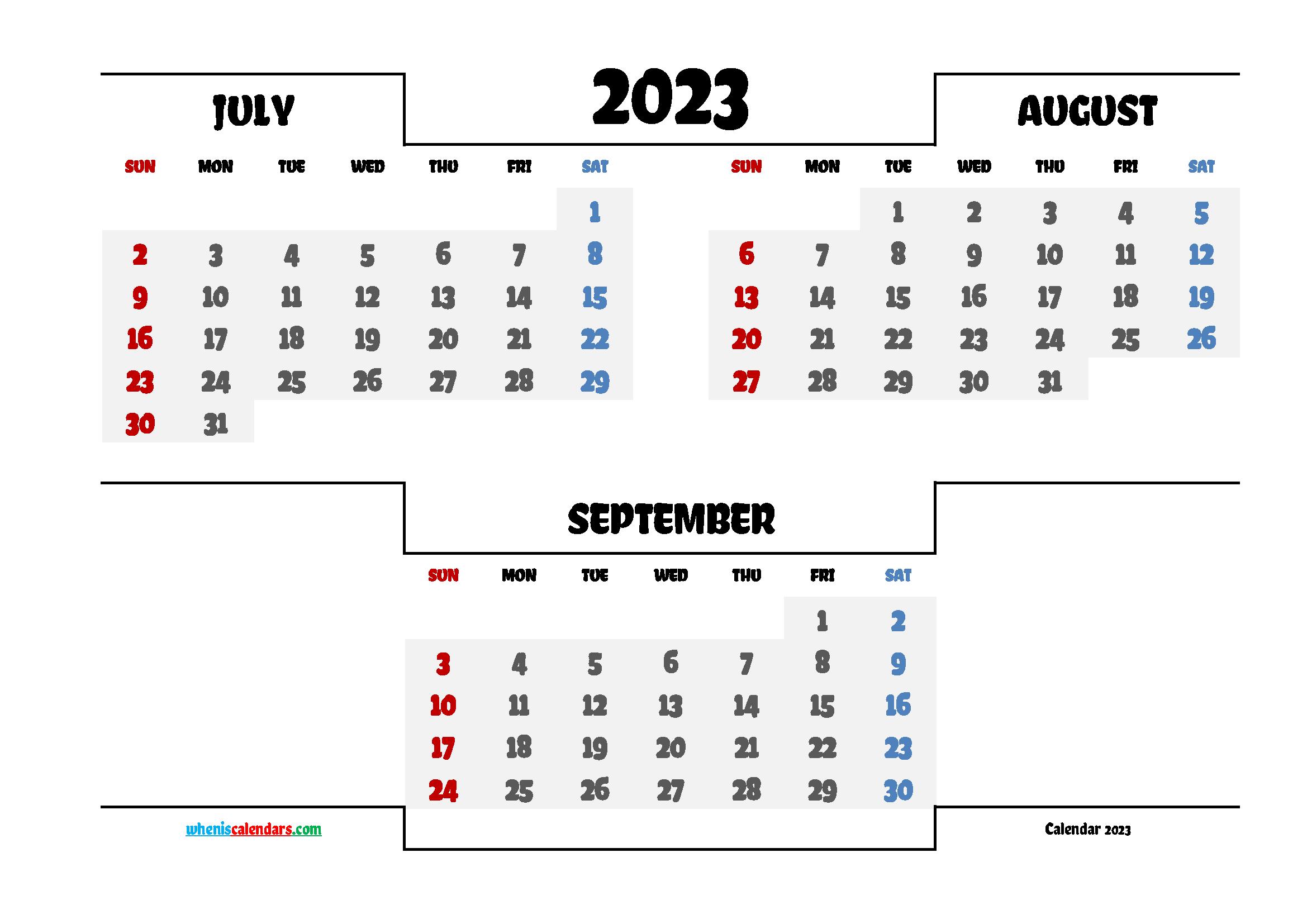 July August September 2023 Calendar Printable