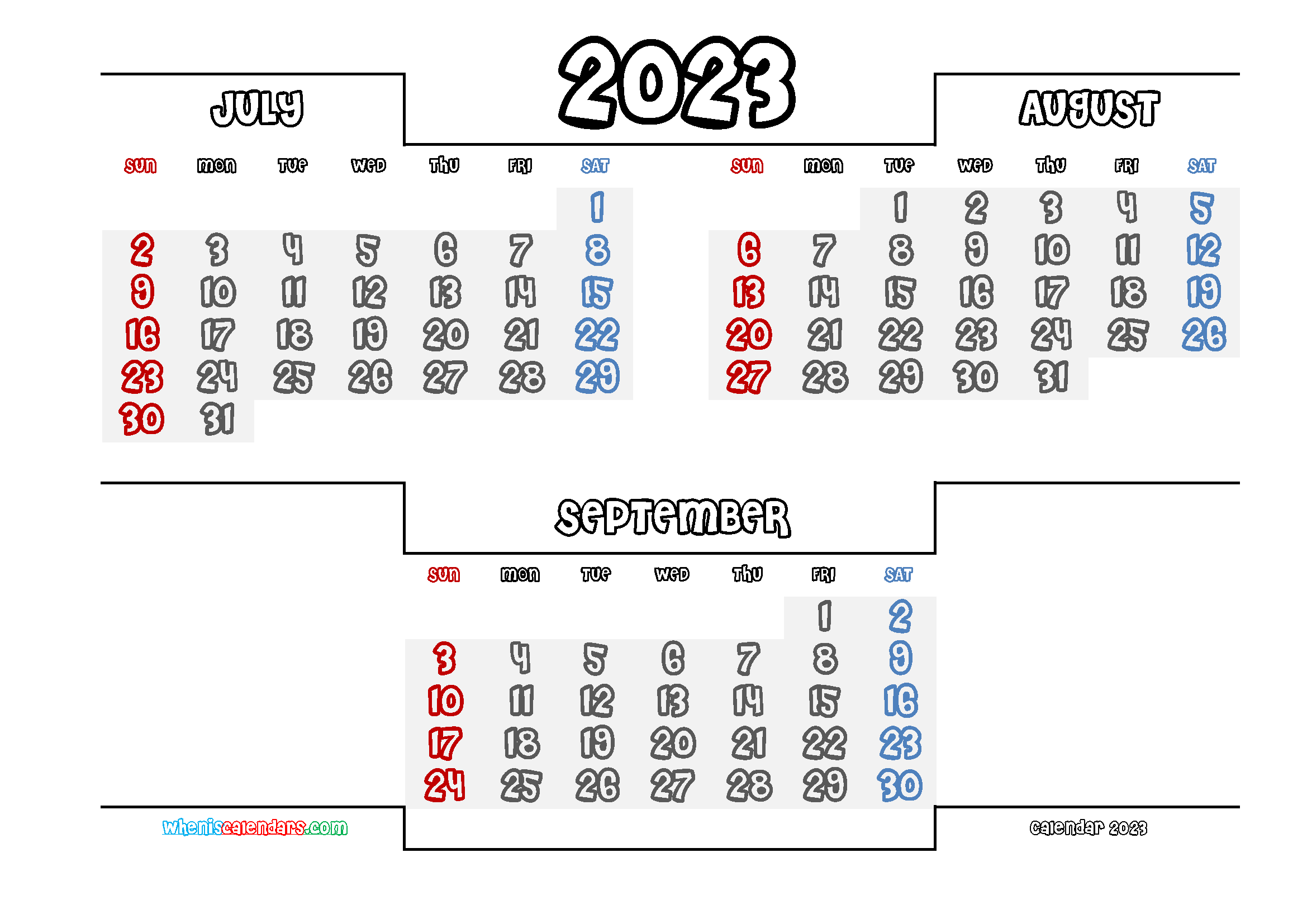 July August September 2023 Printable Calendar