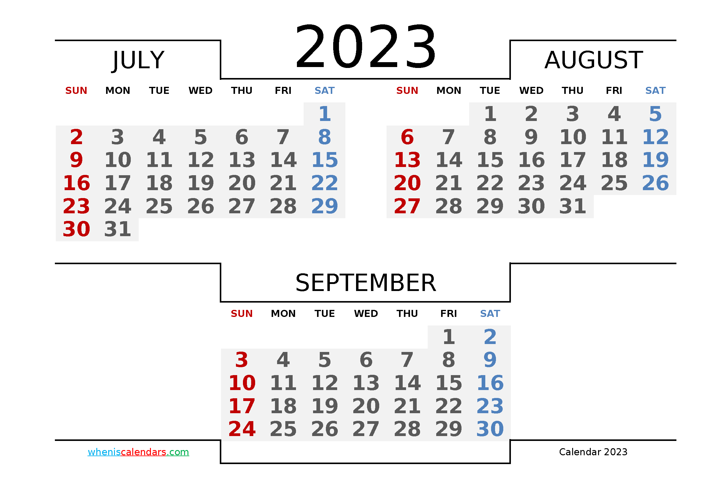 July August September 2023 Printable Calendar Free