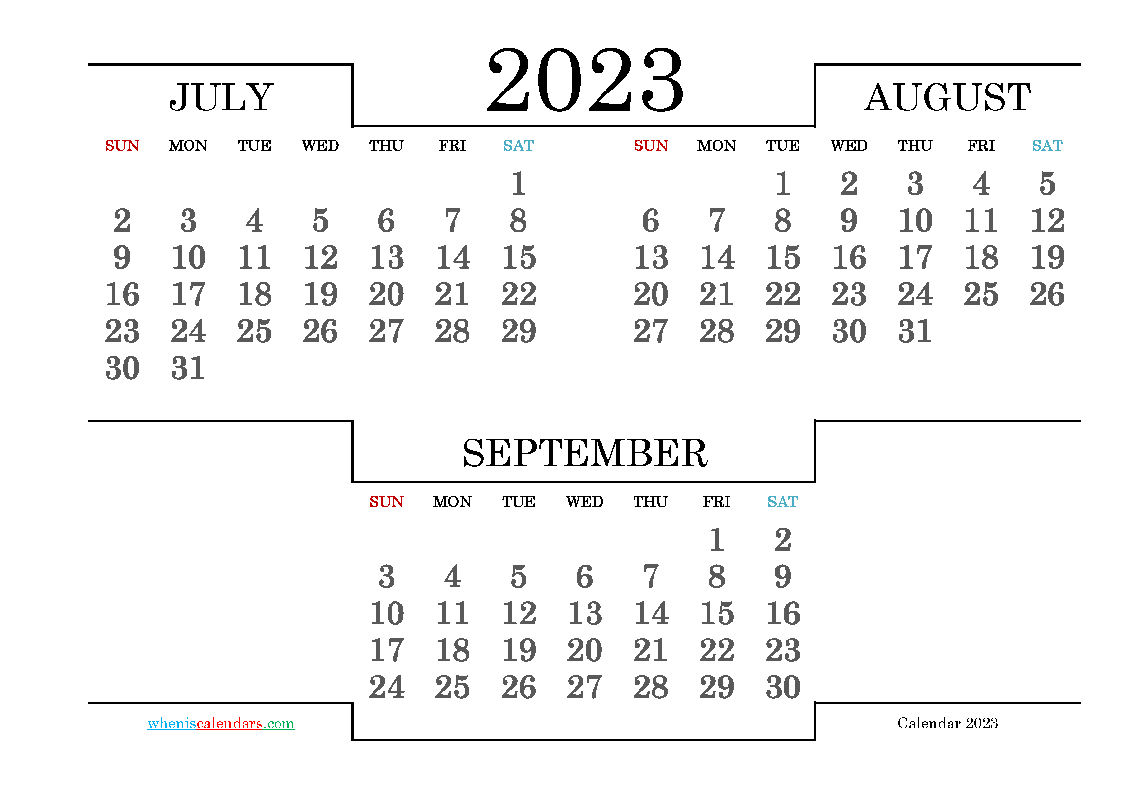 Calendar July August September 2023 Printable