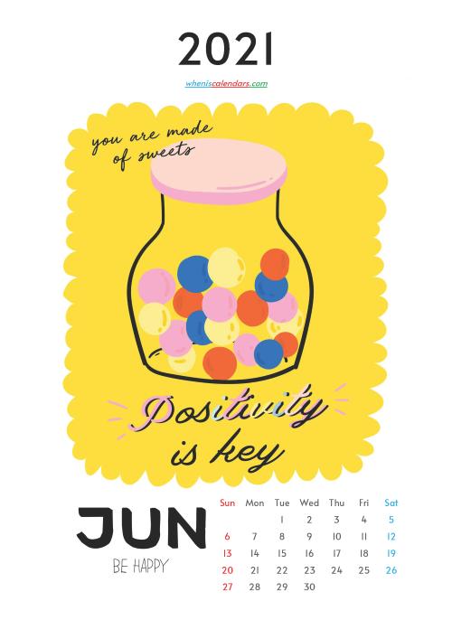 Free Calendar for Kids Printable June 2021