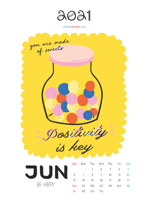 Free Cute Calendar Printable June 2021