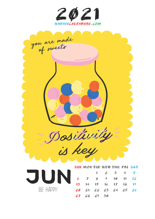 Cute Calendar Printable June 2021