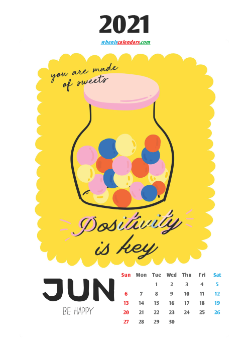 Calendar for Kids Printable June 2021