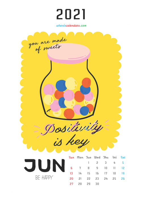 Free Calendar for Kids Printable June 2021