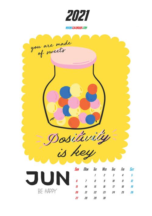 June 2021 Calendar Printable for Kids