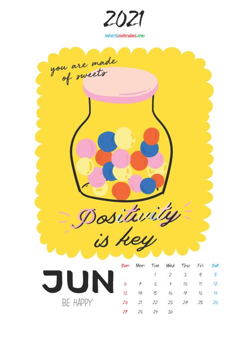 June 2021 Cute CalendarPrintable