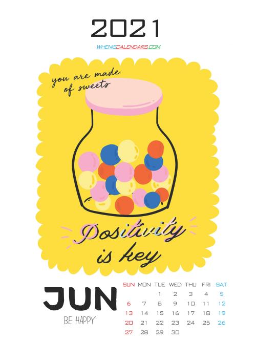 Calendar for Kids Printable June 2021