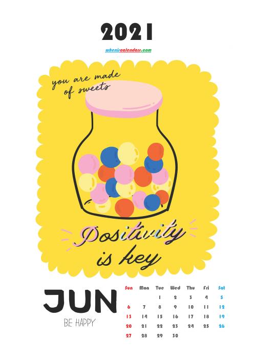 Cute Calendar Printable June 2021