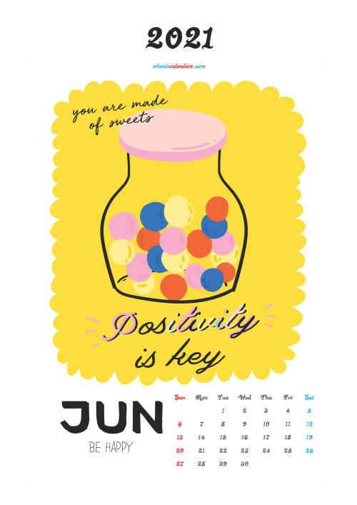 June 2021 Calendar for Kids Printable