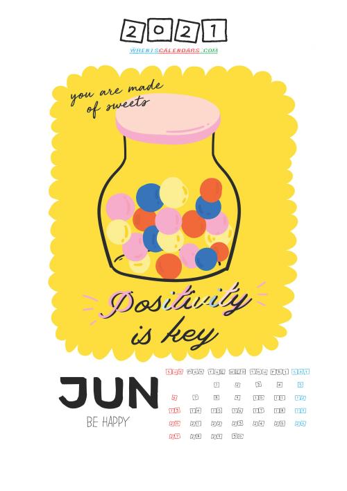 Free June 2021 Calendar for Kids Printable