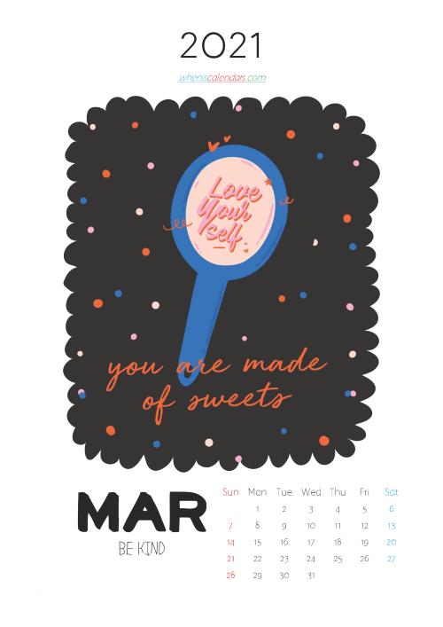 Calendar for Kids Printable March 2021